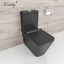 Матовый черный санитарных продовольственный квадратный из двух частей туалет в ванной комнате чаша