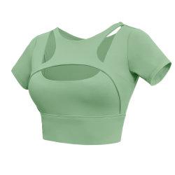 2021 ropa de Yoga de Color sólido Europea y Americana Verano Femenino Sexy correa doble hombro Deportes ropa interior ropa exterior Deportes Casual Gimnasio al aire libre Short Top
