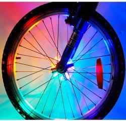 Светодиодные индикаторы колес велосипеда, велосипед, светодиодный индикатор ступицы аккумулятор говорил сигнальных ламп с 8ПК цвета RGB на велосипеде оформление ночь Верховая езда на велосипеде
