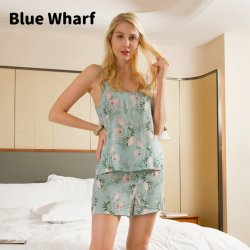 2021 Flores Personalizadas Imprimir Curtos Desgaste do Sono Verão Set Home Desgaste Casual dormindo roupas de seda de marca pijamas acetinado para as mulheres definido
