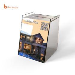 صندوق اكريليك قابل للطي صندوق التبرع بطاقة أكريليك شفافة صندوق التبرع الخيري