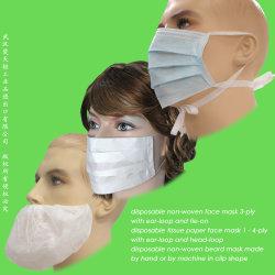 Krankenhaus-Sicherheit/schützendes 3-Ply Earloop/Papier/Bart/Labor/Doktor/Lokalisierung/medizinische 3ply nichtgewebte Wegwerf-pp. chirurgische Gesichtsmaske mit elastischer Ohr-Schleife/Tie-on