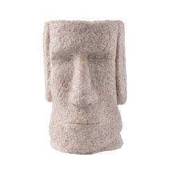Il supporto della penna della resina della statua della pietra dell'isola di pasqua della scultura dell'arenaria dell'annata orna i regali domestici della decorazione dei mestieri del tavolo della resina