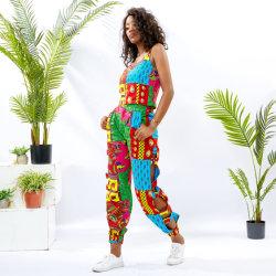 As mulheres roupas da moda escoras africanos Top e prensa para calças