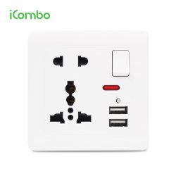 Высокое качество электрической мощности на стену 5 Контакт Mf многофункциональный переключатель розетки с зарядкой через USB для Бангладеш