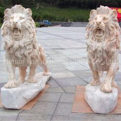 Jardim estátua de mármore Escultura Lion esculturas em pares (GSS-271)