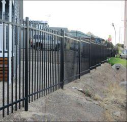 Revêtement poudré noir acier tubulaire clôture/clôture en fer forgé/barrière de sécurité/panneau de clôture