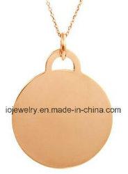 Or Rose Engravable Vermeil Tag argenté rond Collier pendentif