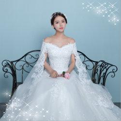 La Dentelle élégant satin robe de mariage hors de l'épaule avec châle (Dream-100045)