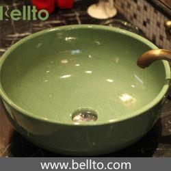 Rundes handgemachtes grüne Farben-Kunst-Wäsche-Bassin für Toilette (C-1032)