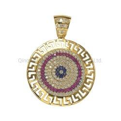 18K 14K 10K 925 jóia de prata círculo Evil Eye Pendant Com pedra colorida