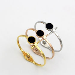 New Fashion Jewelry Black Round Armband Women Opening Cuff Bangle
