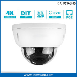 Resistente al agua caliente zoom 4X 4MP cámara IP domo de infrarrojos Poe