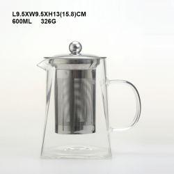 Hand durchgebrannter Glaspotentiometer-hoher Borosilicat-Glas-Kaffee/Tee-Potenziometer mit Metall Rosebox