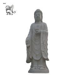 La decoración del templo de piedra de tamaño de la vida de color blanco puro estatua de Buda permanente para el comercio al por mayor Mfsy-26