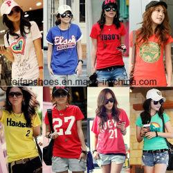 Hot chiffon Vêtements Vente Stock Lady T-shirt avec un faible prix de Stock (FF626-1)