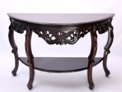 "Table 55"" de la console de demi-lune Sculpture artisanal merisier sombre"