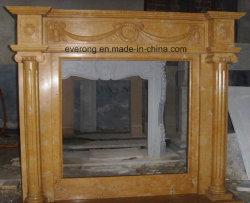 黄色かベージュ大理石の暖炉の環境、電気暖炉、屋外の大理石の暖炉