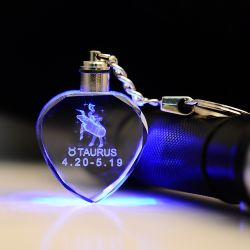 LED 빛 (KS23101)를 가진 선전용 선물 Laser 조각 수정같은 Keychain