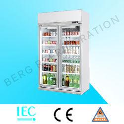 Двойные двери энергетический напиток холодильник для продажи