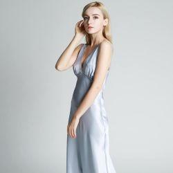 Mejor a largo camisón de seda para las mujeres con gran profundidad Correa de cuello en V. El verdadero lujo camisón de seda Tamaño Plus