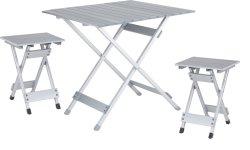 4 ベンチ付きアルミニウム製折りたたみピクニックテーブル 4 人用調整可能 オフィスの庭のための高さの携帯用キャンプテーブルおよび椅子セット