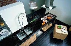 Piano di lavoro in pietra al quarzo nero artificiale ad alta densità per cucina