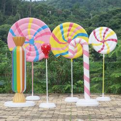 Großhandel Custom Home Decor Farbige Kunst Kunstharz Fiberglas Geschmolzen Lollipop Skulptur