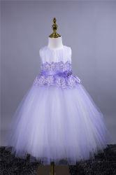 El rendimiento de los niños de la boda certamen oficial de las niñas vestidos de satén Frocks Maxi