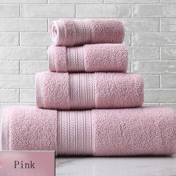 Van de Katoenen van 100% Doek van de Was van de Badhanddoek van de Hand van het Gezicht de Roze Kwaliteit van de Gift In het groot voor Badkamers