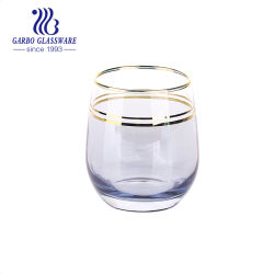 Gfit (GB061712-6-DDETJ)를 위한 금 변죽으로 파란 색깔 계란 모양에 의하여 불어지는 유리제 컵을 도금하는 350ml 이온