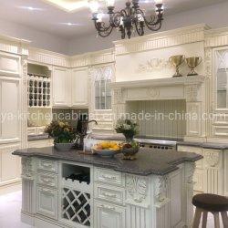 Mobiliario de casa Europa estilo clásico de madera sólido diseño de los pilares de Roma del Gabinete de cocina Muebles de Cocina