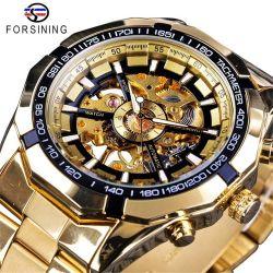 Les hommes de vente chaude squelette montre mécanique automatique Forsining 037 l'homme d'or Watch Watch haut luxe de marque