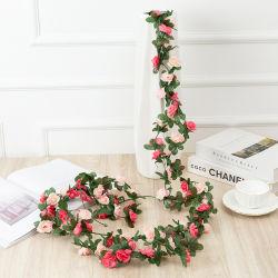 Kunstmatige Bloemen Hanging RoseFlower Garland Rose Vine Wedding Arch Tuin Achtergrond decor