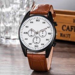 偶然の手首の本革の水晶日付のクロック手の腕時計Wy-17014