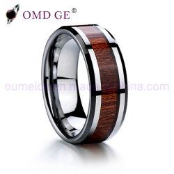 Madeira e Abalone Pau'um Shell inlay de casamento de engrenamento de carboneto de tungsténio Ring para homens