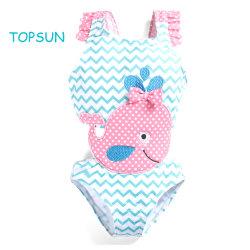 Niña de una pieza impresa ropa Bikini traje de baño producto traje de baño Playa Ballena con parche bordado