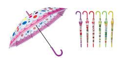 19''x8K long bâton ouvrir automatiquement le Kid's Poe parapluie avec tirages avec bord d'onde