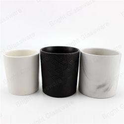 Bougie en céramique noire vide Jar Conteneur pour bougie parfumée
