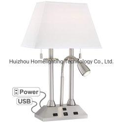 독서 빛 USB 포트와 2개의 전기 출구를 가진 Jlt-Ht02에 의하여 솔질되는 니켈 호텔 테이블 램프
