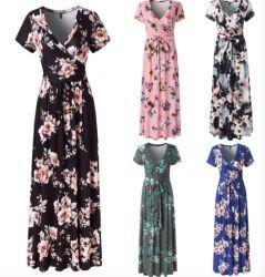 Blumendruck-Kurzschluss-Hülsen-langes Sommer-Kleid der Frauen