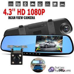 1080P 4.3''dual lentille miroir auto voiture DVR Dash Caméra Vue arrière de l'enregistreur de came