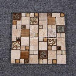 300x300mm azulejos de parede decorativos em pedra e vidro mosaicos de mármore