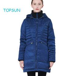 Les femmes de couleur bleu foncé épaissie Puffer Down Jacket Manteau à capuchon d'hiver