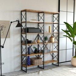 El doble de estantería abierta gran librero de Madera y Metal estanterías para oficinas domésticas Wholesale