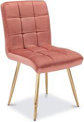 Design simples tecido barato quatro Golden cobre as pernas de aço cromado Cadeira de jantar