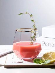 Hexagonal de Artesanía de soplado de vidrio transparente de vidrio cristal de agua personalizada creativa copa de vino de la moda