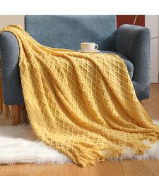 غطاء بطانية الأريكة على طراز النورديك Knit shawl Acrylic رمي هامشية بطانية حز الصوف الأبيض