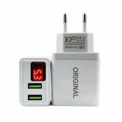 Venda por grosso 2um telemóvel Ficha UE portátil universal único carregador de parede LED USB para Celular