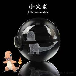 포케몬 어린이 생일 선물 카툰 스타일 장난감 3D 레이저 각인 크리스탈 유리 볼